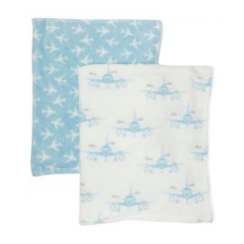 2 Pack Fleece Blanket : Airplane