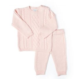 2 Piece Cable Knit Sweater Set: Pink
