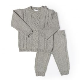 CABLE KNIT SWEATER, PANT AND HAT SET : GREY