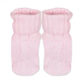 CABLE KNIT BOOTIE- PINK