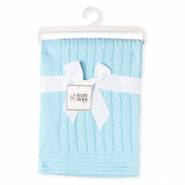 Cable-Knit Blanket - Blue