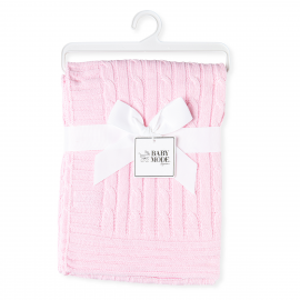 Cable-Knit Blanket - Pink