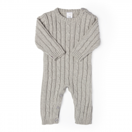 Cable Knit Romper: Grey