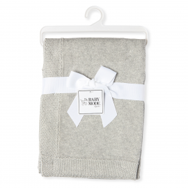 KNIT BLANKET WITH BORDER - GREY