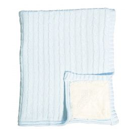CABLE KNIT SHERPA BLANKET - BLUE