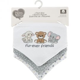 PRECIOUS MOMENTS: 3 PACK TRIANGLE BIB- FUR-EVER FRIENDS