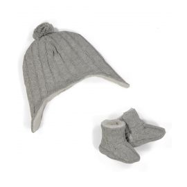 Knit Hat and Bootie Set: Grey