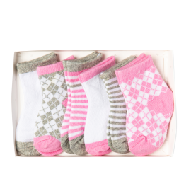 Argyle 6 Pack Socks: Pink