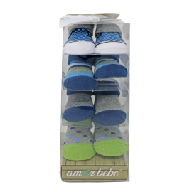 4 Pack Boxed Socks : Blue/Green