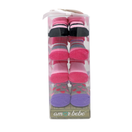 4 Pack Boxed Socks : Pink/Purple