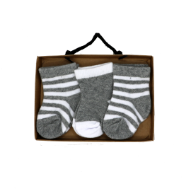 3 PACK SOCKS: GREY STRIPE