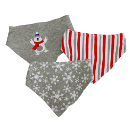 3 Pack Triangle Bib: Red Polar Bear