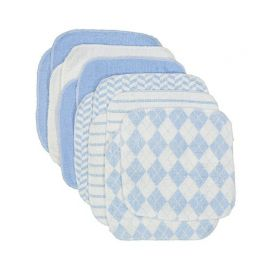 12 Pack Washcloth : Blue Plaid