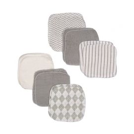 12 PACK WASHCLOTH : GREY PLAID