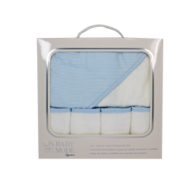 Boxed Hooded Towel/Washcloth-Blue