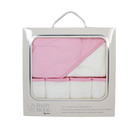 Boxed Hooded Towel/Washcloth-Pink
