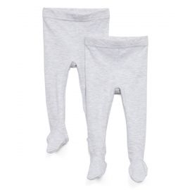 2 PACK PACKAGED FOOTED PANTS: GREY