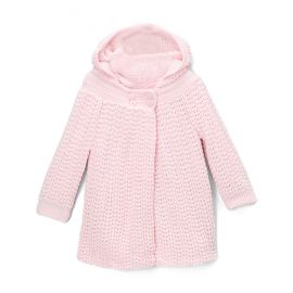 Knit Hooded Coat- PINK