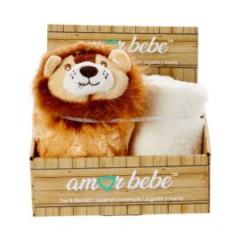 PUFFY TOY AND BLANKET: LION
