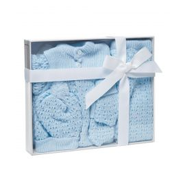 4PC Knit Boxed Cardigan Set - Blue