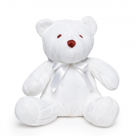 Cable Knit Bear: White
