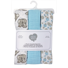 PRECIOUS MOMENTS: 3 PACK MUSLIN BLANKET: BLUE LOVE YOU TONS