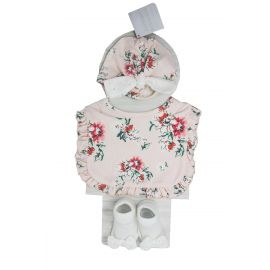 3 Piece : Hat, Bib and Bootie Set : Pink Floral