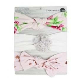 3 Pack Headbands : Pink Floral/Gold Set