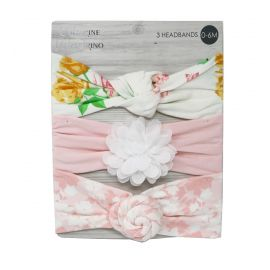 3 PACK HEADBANDS : WHITE/PINK