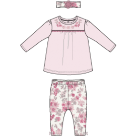 NB 2 PIECE LEGGING AND HEADBAND SET: PINK FLORAL