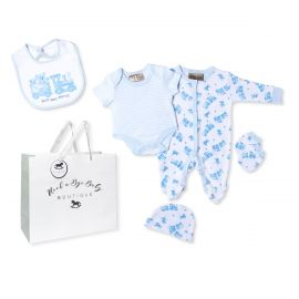 BOYS 5 PIECE SET IN MESH BAG WITH GIFT BAG: PHOTO-PRINT BEAR AND TRAIN
