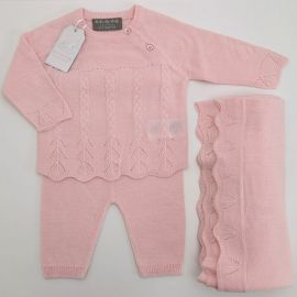 GIRLS 3PC KNITTED SET: PINK