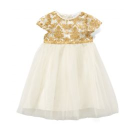 "GIRLS FANCY BAROQUE DRESS "" IVORY"""