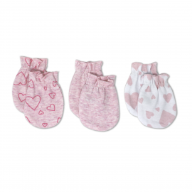3 Pack Heather Mitts: Pink