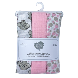 PRECIOUS MOMENTS: 3 PACK MUSLIN BLANKET: PINK LOVE YOU TONS