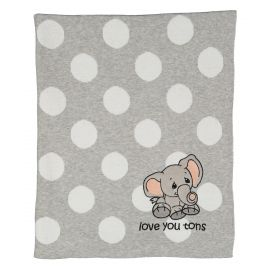 PRECIOUS MOMENTS: JACQUARD KNIT BLANKET- GREY LOVE YOU TONS