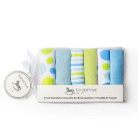 6 Pack Washcloth: Blue