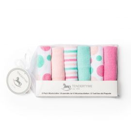 6 PACK WASHCLOTH: PINK