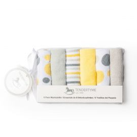 6 PACK WASHCLOTH: YELLOW/GREY