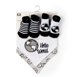 4 PIECE BIB AND SOCK SET: HELLO WORLD