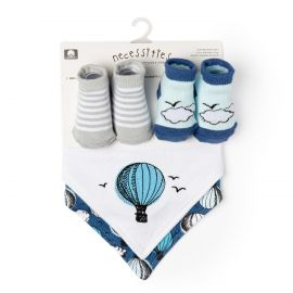 4 Piece Bib and Sock Set: Hot Air Balloon
