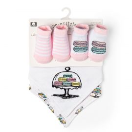 4 PIECE BIB AND SOCK SET: MACARON