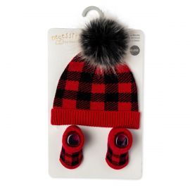Knit Hat and Bootie Set : RED PLAID