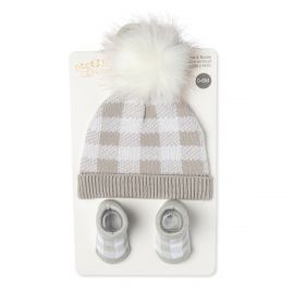 KNIT HAT AND BOOTIE SET : GREY PLAID
