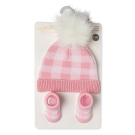 KNIT HAT AND BOOTIE SET : PINK PLAID