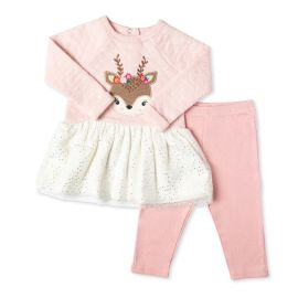 GIRLS 2PC QUILTED DRESS WITH LEGGING: DEER