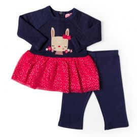 GIRLS 2PC QUILTED DRESS WITH LEGGING: RABBIT
