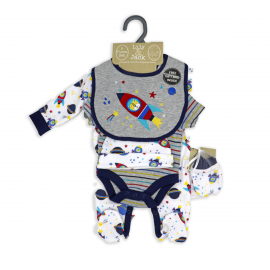 BOYS 5 PIECE SET IN MESH BAG WITH GIFT BAG: SPACE ROCKET