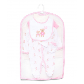 GIRLS 5 PIECE SET IN MESH BAG WITH GIFT BAG: TEDDY BEAR