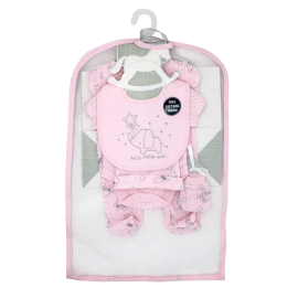 GIRLS 5 PIECE SET IN MESH BAG WITH GIFT BAG: ELEPHANT